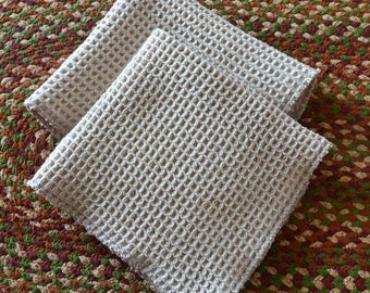 SECONDS-------100% Organic Cotton Waffle Weave Natural Dish Cloths-Set of 2 9x10 inches