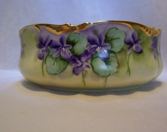 Limoges, Antique China, Emily Chase, Violet Bowl, Centerpiece Bowl