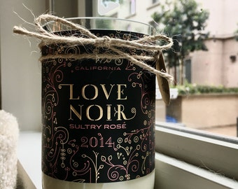 Love Noir Recycled Rosé Wine Bottle Soy Candle Valentine's Day Pink Magnolia Blossom