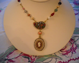 Repurposed Vintage Necklace Cameo Rhinestones Pendant Salvaged Beads FREE SHIPPING