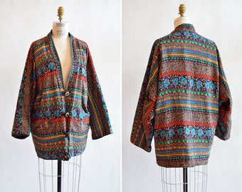 Vintage 1980s BOLD printed cotton duster jacket