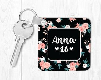 Sweet 16 Keychain Sweet 16 Gift for Sweet 16 Birthday Gift Monogrammed Key Chain Personalized Keychain Floral Keychain Custom Keychain Pink