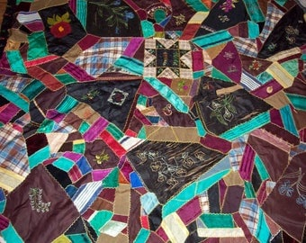 """Patchwork Estate Sale Antique Quilt measures 87"""" by 69"""" hand embroidered, Crazy quilt"""