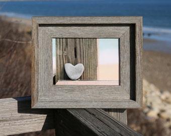 Beach Heart Photo- Grey Heart Stone, romantic gift, heart rock, framed 5x7, rustic barn wood, coastal decor, beach photography, summer art