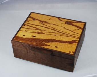 Watch Box- Walnut  & Marble Wood Watch Box -- Holds 6 Watches