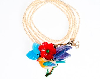 woodland Bird Necklace, Fairy tale Jewelry, Multi strand Pearl Necklace, Trendy Whimsical Jewelry