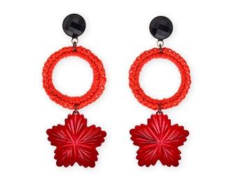 Large Red Earrings Metal Flower Light Weight long Earrings