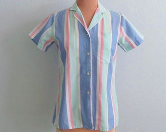 Summer Stripes, Button Down Top Blouse, Camp Shirt, Lee, Vintage 60s 70s