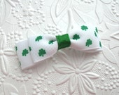 St. Patrick's Day Baby Hair Bow ~ Shamrock Hair Bow ~ Petite, Dainty Simple Baby Hair Bow