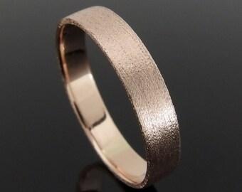 14k Rose Gold Wedding Ring, Flat Profile Rose Gold Wedding Band Ring, Rose Gold Wedding Ring, Heavily Brushed Finish, 4 mm, 5 mm or 6 mm