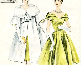 "Vintage 1960's Vogue Couturier Design Pattern 190 - Misses' One Piece Dress and Coat - 1960's Evening Glamour - Sz 12/Bust 32""/Hip 34"""