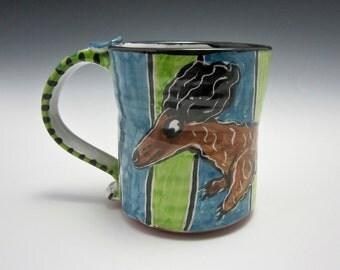 Large Ceramic Coffee Mug - Brown Longhair Dachshund Wiener Dog - Green Blue - Majolica - 17 ounces oz - Pottery Clay- Pet Dog Mug - Cup