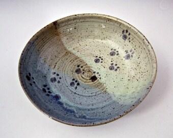 Pet Feeding Dish - Ceramic Feeding Bowl - Blue Green Stoneware Dish - Small Dog Food Bowl - Cat Water Dish - Shallow Dish - gift for pet