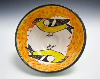 Medium Ceramic Bowl - Yellow Goldfinch Bird - Pottery Serving Bowl Dish - Majolica Bowl -  Clay Bowl - Woodland Creature - Cereal Bowl
