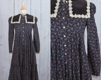 Vintage 1970s Gunne Sax dress | floral midi