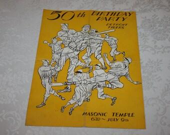 RARE Vintage Detroit Tigers July 9, 1951 50th Birthday Party Masonic Temple Detroit, Michigan Ty Cobb Autograph