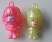 VERY RARE, vintage, charmkins, Hasbro, 1980s, scubidu, pimpi rosa, Brown eyed Susan, Willie Winkle, neon, pink, by NewellsJewels on etsy
