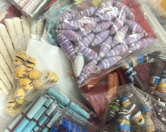 CLEARANCE: Paper beads, handmade rolled, recycled, upcycled, wholesale assortment