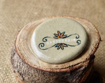 Daydreamer Ceramic Jewelry Brooch, Earthy Stoneware by Mrs Peterson Pottery