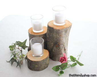 3-Log Centerpiece Stand Display, Rustic Candle Arrangement