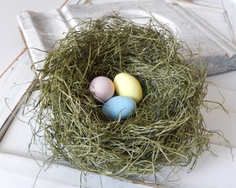 Bird Nest Rustic Green Bird Nest with Handmade Pastel Eggs Spring Decor by PerchAndPatina on Etsy