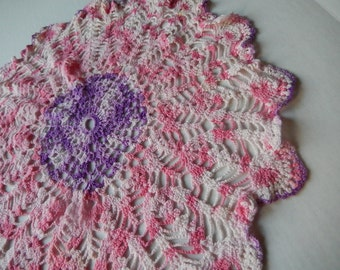 Vintage Doily Romantic Pink and Purple Cottage Chic Decor Crochet  Kitchen Home Decor