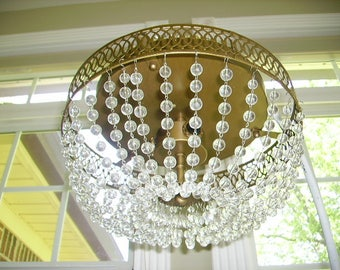 Vintage Crystal Beaded Chains Chandelier Ceiling Light Fixture