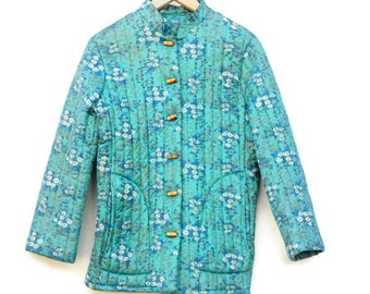 Vintage 60s-70s Quilted Asian Style Jacket/ Bohemian Chic/ Hippie/Boho/Gypsy/Mid Century