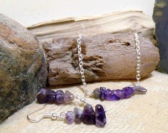 Amethyst Gemstone 20 in. Necklace Dangle Earrings Set Small Petite, Bar Necklace,Teachers, Friends, Birthstone, February