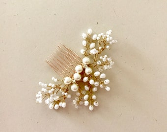 Pearl Hair comb, Bridal hair comb, ivory and gold, copper, silver