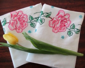 Two floral standard PILLOWCASES - pair, white, pink roses, cotton, embroidered,