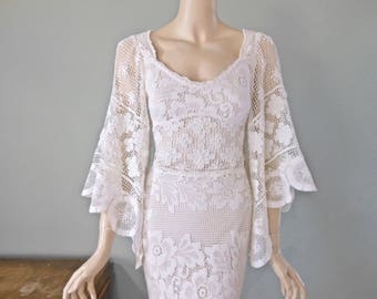 RESERVED Jamie last payment Crochet Lace Bohemian Wedding Dress MERMAID wedding dress Ivory Lace Wedding Dress Beach Wedding Dress