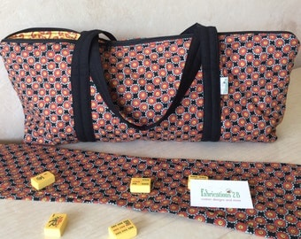 Mah Jongg Tile Game Tote with 2 Rack sleeves and  2 Zip pouches