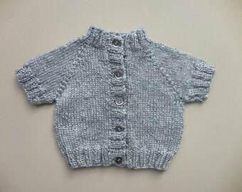 METALLIC PEWTER CARDIGAN Boys Girl Baby Hand Knit Sweater Vintage Childs Short Sleeve Silver Shimmer Metal Button 1 years 6 9 12 months