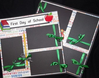 Boy or Girl First day of school two 12x12 premade Scrapbook Layouts
