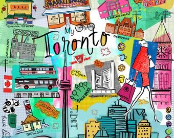 Toronto City, Wall art, Print, icons, modern, illustration, Global City,Home decor, Farida Zaman