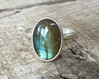 Simple Elegant Minimalist Oval Flashy Labradorite Sterling Silver Ring | Oval Labradorite Ring | Boho | Rocker | Simple Silver Ring
