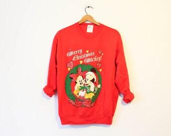 Vintage Red Walt Disney World Mickey Minnie Holiday Seasons Greetings Christmas Sweatshirt