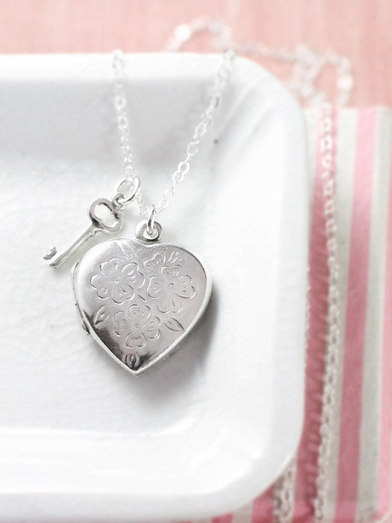 Small Silver Heart Locket Necklace, Sterling Silver Vintage Pendant w/ Key Charm - Key to My Heart