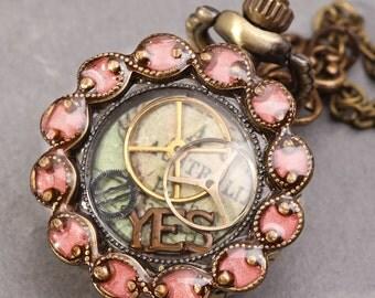Steampunk Necklace Locket Watch Womens Pocket Watch