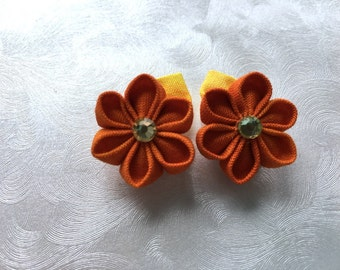 Snippets of Sunrise Miniature Kanzashi Snap Clips