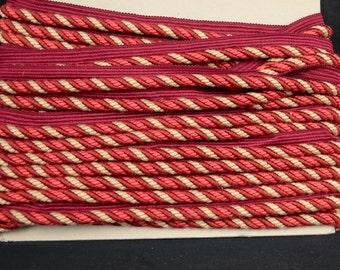 C3034 12 Burgundy Red Pink Lip Cord Trim Fabric