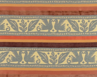Contemporary Upholstery Fabric Brown Gold With Blue Green Birds