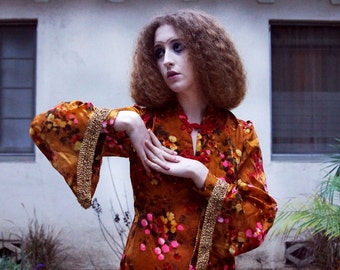 Amazing Silk Gold floral 70s bell sleeve brocade trim gown