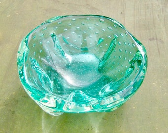 Mid Century Art Glass Bowl Ashtray Controlled Bubbles Italy Green Mouth Blown Handmade MCM