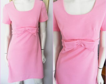 Vintage 60s Bubble Gum Pink Mod Mini Dress with Bow.Small.Bust 36.Waist 30.