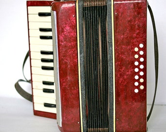 Vintage Accordion Mini Kids Children Learner - Working - Green - 1970s 1980s - from Russia / Soviet Union / USSR