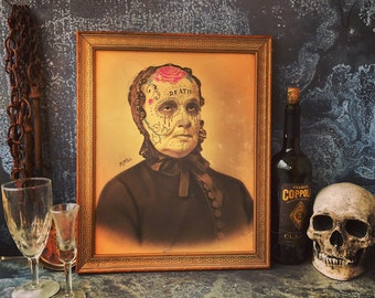 RESERVED FOR PELÉ / Day of the Dead / Victorian Sugar Skull Woman Altered Art / Mixed Media Painting / Victorian Death Mask  / Robert Price