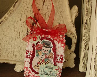 retro snowman gift tag Large vintage style merry christmas tag mixed media paper art tag red and white gift party favor tag gift for friend