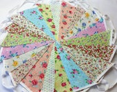 Clearance Bunting 80 ft/24metres shabby chic style fabric bunting Weddings, Tea Parties Baby shower 80cl